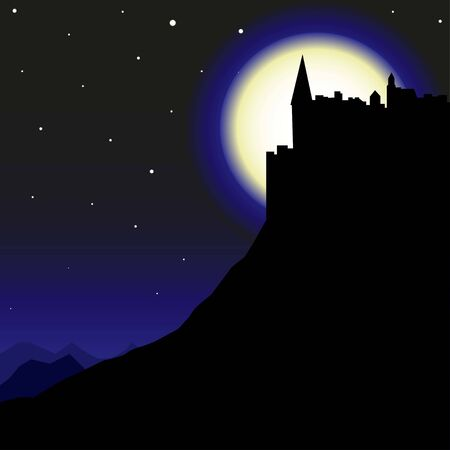 Silhouette of the castle on the background of the moon