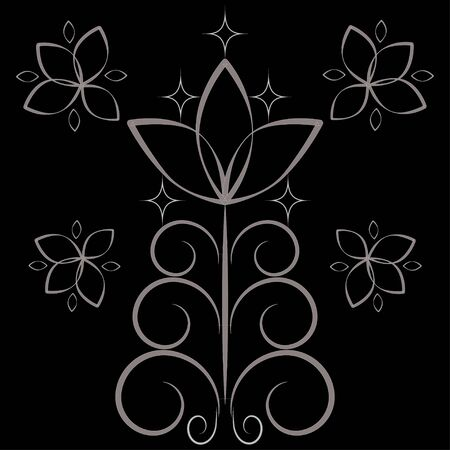 simple openwork silver flower on a black background