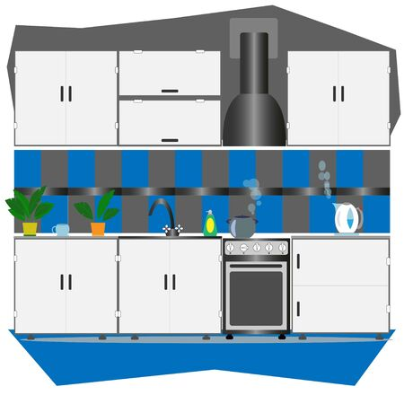 colored kitchen witn different household appliances