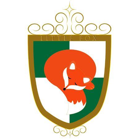 vector family crest with sleeping fox Иллюстрация