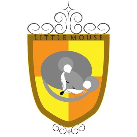 vector family crest with sleeping mouse