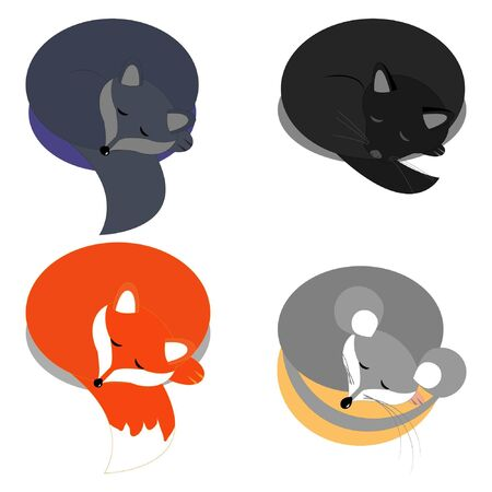 four vector sleeping animals on a white background