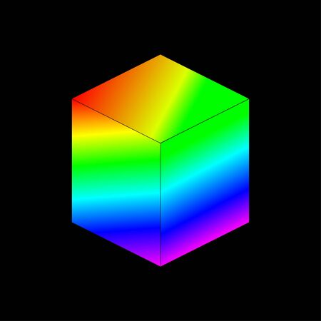 vector isometric cube with bright gradient on a black background