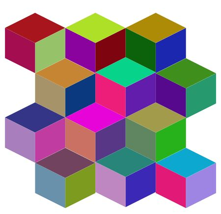 vector isometric pattern with multicolored cubes on a white background