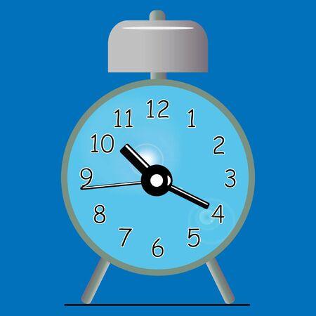 blue retro alarm clock on a blue background
