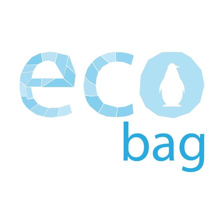 light blue inscription for a eco bag Stock Illustratie