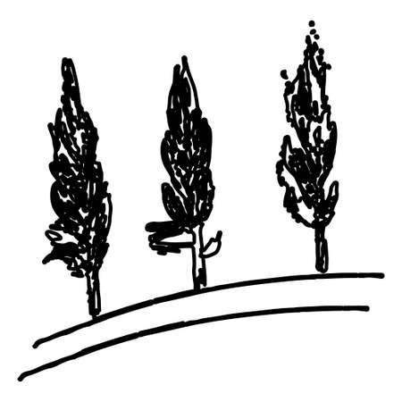 black and white hand drawn trees Illustration