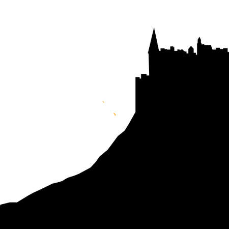 black vector silhouette of the castle on the top of the mountain