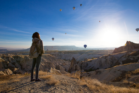 lonely traveler looking into the Cappadocia, Central Anatolia, Turkey