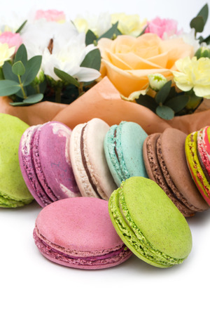 minty: Set of various pastel colored macaroon and gift boxes  Stock Photo