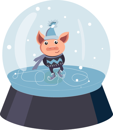 A piglet in a dark sweater with a pattern and a scarf skating on the ice in a snow ball. Symbol of the new year. Vector winter pig for greeting card Illustration