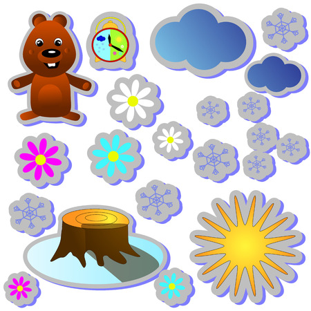 Groundhog Day color cartoon holiday illustration design. Second February greeting poster, banner, postcard, Vector illustration with marmot and clock - winter vs spring Illustration
