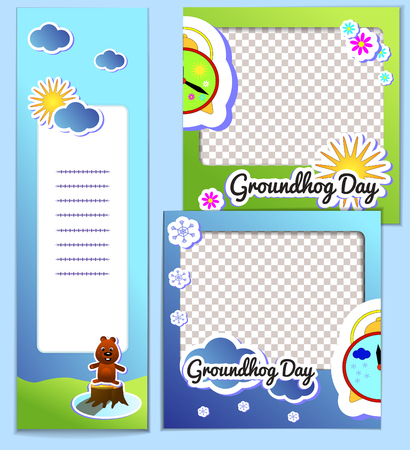 Set templates frame and flyer for Groundhog Day - stickers cartoon illustration with sun and clouds. Second February greeting poster, banner, postcard, scrapbook.
