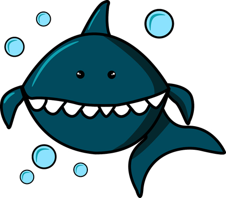 Blue Shark and Bubbles. Isolated on white background. Cartoon character for print on t-shirts, sweatshirts, T-shirts, gifts. Vector illustration for clothes or cards, invitations, posters on the wall, banners. Baby Shark. EPS10 Illustration