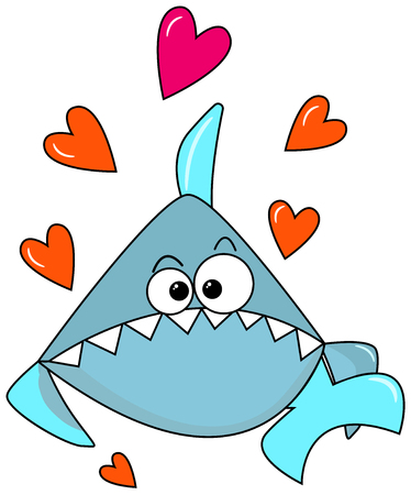 Blue lovely shark on a white background with orange hearts. Congratulations on Valentines Day in sea style. Cute cartoon character to print postcards, on clothes, party decor. Vector illustration. aquamarine color Illustration