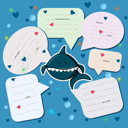 Chat background with a shark in love in the sea among hearts and bubbles. Spoken clouds with messages. holiday card or banner. vector illustration eps10