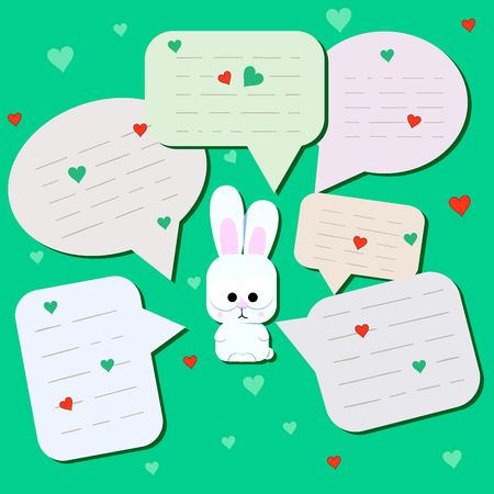 Funny little hare with big eyes. Surprised Rabbit with chat cloud or with spoken bubbles. Little rabbit on mint background. Message from Cute Wild Animal with a Heart. Postcard, poster. Great for print design. vector illustration.
