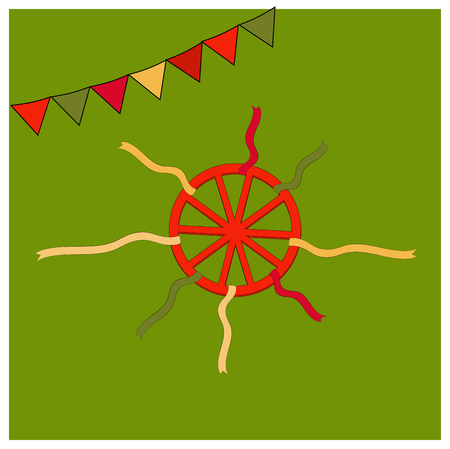 Red wheel and colorful ribbons. Shrovetide or Maslenitsa. Elements Russian national holiday. Educational cards or greeting cards. Shrovetide simbol isolated on green background. Vector illustration