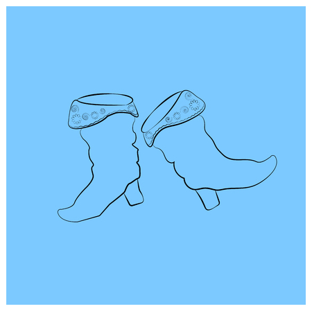 saffian boots with floral ornament Black Contour Elements Russian national costume. Educational cards or greeting cards. simbol isolated on blue background. vector Outline illustration for coloring book or printing for clothes. Shrovetide or Maslenitsa. 向量圖像