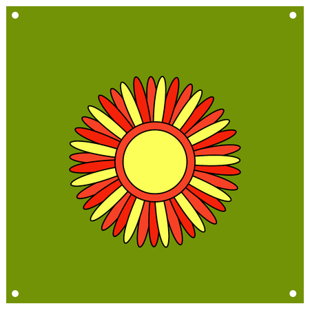 Stylized sun with red and yellow rays. Shrovetide or Maslenitsa. Elements Russian national holiday. Educational cards or greeting cards. fair attributes Vector illustration