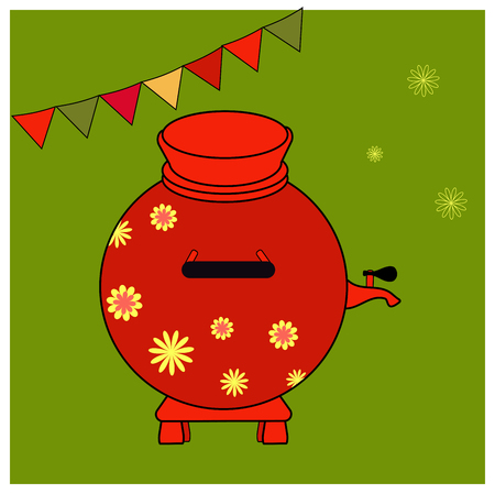 Red Samovar with yellow floral ornament. Elements Russian national holiday. Educational cards or greeting cards. Shrovetide simbol isolated on green background. Vector illustration Maslenitsa