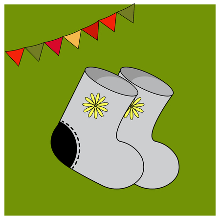 Winter felt boots with ornament. of warm clothing. Accessories Folk costume. Educational cards or greeting cards. Fair. Slavic Festival. Collection Shrovetide or Maslenitsa. Isolated on green background. Vector illustration folk tale