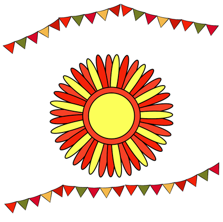 Shrovetide or Maslenitsa. Stylized sun with red and yellow rays. Elements Russian national holiday. Educational cards or greeting cards. fair attributes Vector illustration 向量圖像