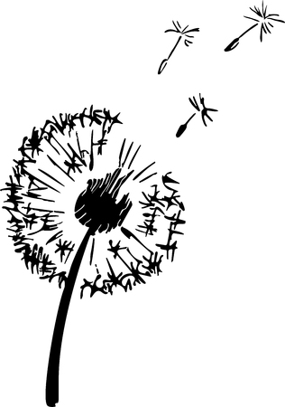 Dandelion plant silhouette. Contour suitable for cutting vinyl sticker. Vector outline illustration