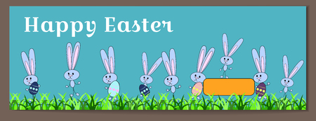 Vector horizontal banner for Happy Easter with painted eggs and bunnies. Rabbits hold eggs with a floral pattern. Ornament of the evil grass. Place for text. Orange dice. Holiday blue background for design cover, booklet.