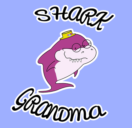 Family sharks. Grandma shark. In a straw hat with flowers. Cute cartoon purple character with eyeglasses of sea animals. Sticker isolated on white contur. Blue background. Print for clothes, baby show