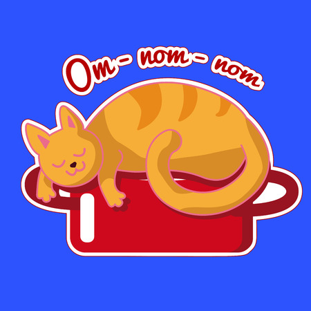 Ginger cat is sleeping on a red saucepan. Vector sticker with a funny animal. Illustration with dreaming about tasty food kitten. Card for Cat Day or Hugging Day. Icon flat style collection. Sticker isolated on white contur on blue background Illustration