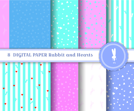 Set 8 sheets of digital paper with bunnies and hearts. Square patterns of delicate colors aquamarine turquoise, pink, blue. vector illustration Silhouettes rabbits and stripes. Suitable for registration of the spring holidays of Easter, March 8. Ilustracja
