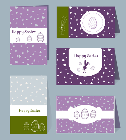 Vector card Happy Easter templates with eggs, rabbits, hearts and white frames border box. Illustration typographic design for spring and Easter greeting cards and invitations. Grey, lilac, violet, green grass colors and Silhouettes Bunny