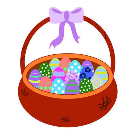 Wicker Brown basket with colorful eggs isolated on white background. Vector illustration colorful object for baby educational cards. With a purple bow. Card for congratulations Hapy easter. Egg hunt. Blue, green, striped, flower, pink, dot ornament Çizim