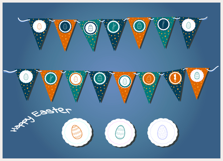 Vector Easter garlands with triangular flags, eggs, hearts and bunnies. Illustration typographic design for spring and easter cards and invitations. Gray, orange, green grass colors and rabbit silhouettes. Print and cut Egg Hunt