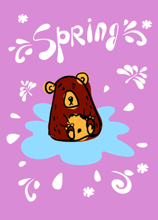 Card design with a contour pattern of cute bear by hand, in a blue puddle on a gently pink background. Inscription Spring. The spots are brown and yellow. Doodle vector illustration.