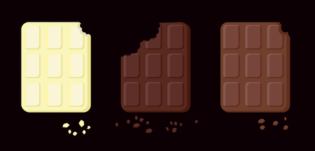 illustration of three varieties of bitten chocolate. Objects isolated on a layer. Elements emblem sweets. Vector Food for cards, applications. Pieces of chocolate against black background. Milky, bitter, white. International Chocolate Day