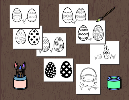 Vector Black and White Easter Egg poster separated on layers. Coloring book page for kids. Illustration with a thick contour and finger coloring. Bunny and basket. Egg hunt for gift card.