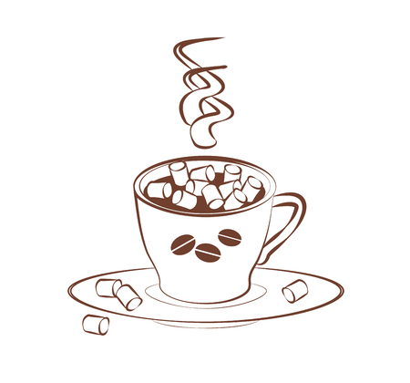 Cup coffee or cocoa with small marshmallows and saucer on a white background. contour emblem logo. Vector Fragrant drink for a cozy coffee house. Hot chocolate for coloring, cards or menu design. Imagens - 118848595