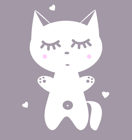 Poster in the nursery. Kitten with eyes closed. Vector cute animal. White cat with pink cheeks for print on clothes. Fantastic anime style kawaii illustration. A collection of charming pets and hearts