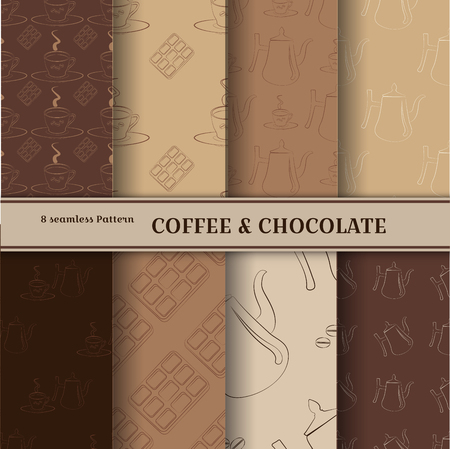 Set Coffee seamless pattern. Illustration coffee pot, cup, chocolate contour objects. Vector color set of brown shades. Stylish backgrounds for blogs, banners, invitations, restaurant menus or cafes. Ilustración de vector