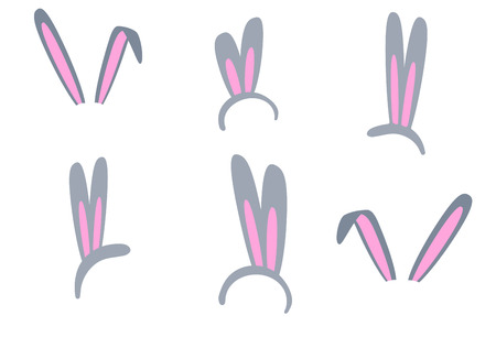 Set of isolated Easter bunny ears on a white background. Pink and gray mask with a rabbit ear. Spring seasonal cute clipart. Illustration hare ears for decorating photos, parties. 矢量图像