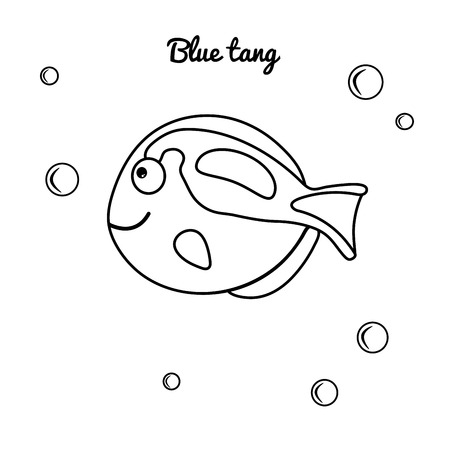 Sea animal Blue Tan. Vector marine character for coloring book for kids. Thick contour suitable for kids. Pastime with children. Educational games. Simple illustration of a black silhouette fish Standard-Bild - 123926815