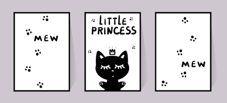 Princess Kitty. Set of monochrome posters with inscription little princess, mew and cat paws. Vector for children room decor. Black and white animal. Kitten in crown closed eyes. Illustration isolated on white background. Silhouette pet for print clothes Çizim