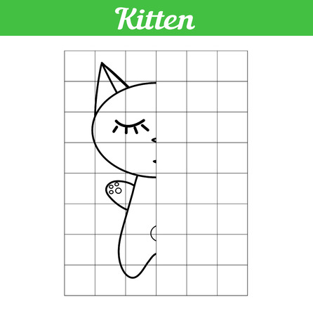 The kitten is sleeping. Grid copy the picture for children. Illustration of a simple coloring book. Easy game for learning kids. Vector Cute animal cat for educational drawing. For printing and paint