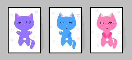 Three kittens with eyes closed. Set of color posters. Cute cartoon vector character decor child bedroom. Cat illustration isolated on white background. Sleeping beast silhouettes. Blue, pink, purple. An animal does exercises. Card or print on clothes