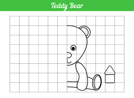 Symmetric coloring book. Repeat on the grid. Teddy bear. Page for children of preschool age. Vector illustration of toys. Character animal for cards education on a square grid, divided into layers. Learning to draw.