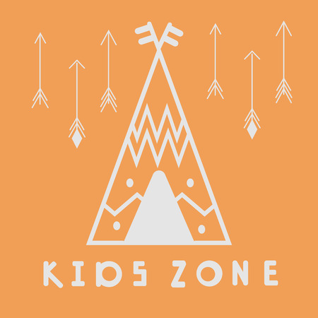 Wigwam. Kids zone poster. Vector illustration for nursery, postcard, print on the wall, pattern for pillow, teepee interior decoration, print on clothing and T-shirts. Grey contour on orange background. Simple lettering in scandinavian style