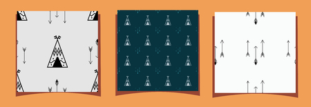 Three tiles of seamless pattern with wigwam and arrows. For the decor of the walls in the childrens room, the design of the play zone, Indian party, blog background, cards in the style of boho. Vector illustration in scandinavian style