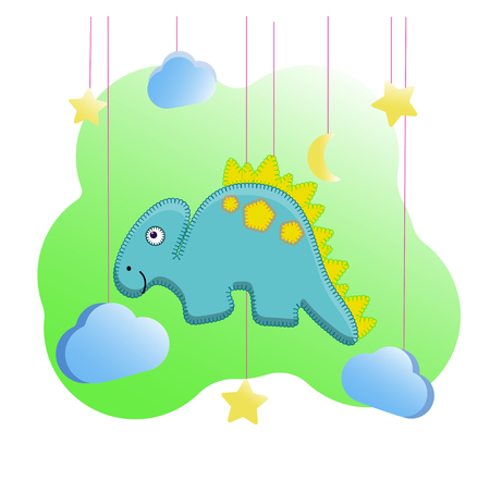 Funny dino print in the style of felt toys for the nursery. Funny stegosaurus with a yellow crest. For printing on thematic archeology cards, pillow pattern, poster for wall decor. Vector illustration cartoon character dinosaur, moon, stars, clouds